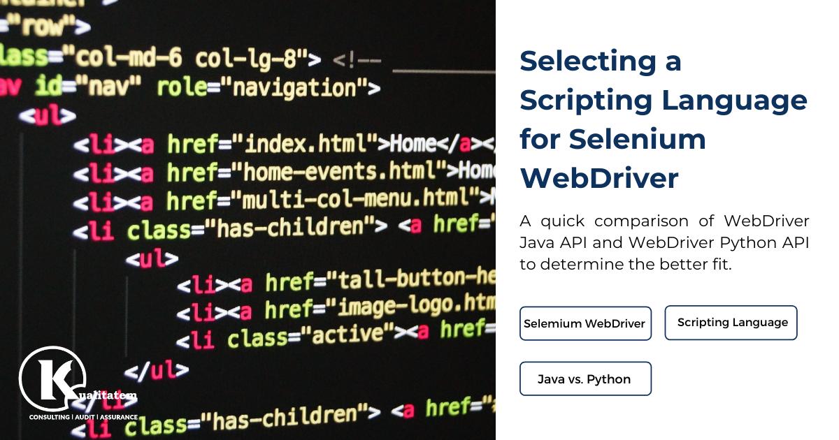Scripting Language for Selenium WebDriver Project